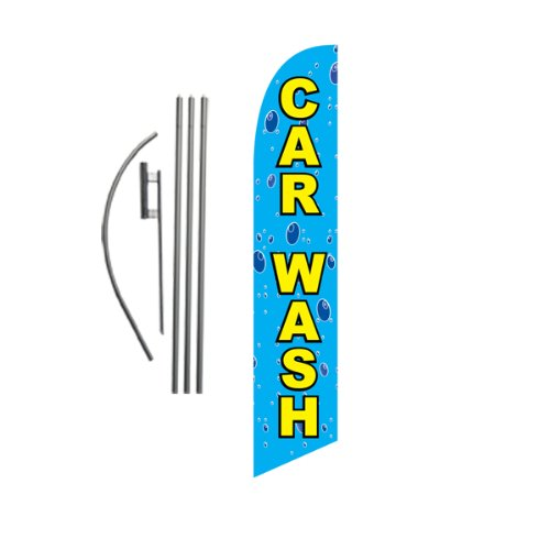 Car Wash Feather Flag Banner Swooper Flag Kit | Top Selling Car Wash Signs | Pole Kit and Ground Spike Included ()