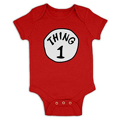 Favorite baby Baby Thing1 Thing2 Print Short Sleeve Climb Clothes Skirt Bunny Cradle Fashion Lifestyle (Thing1 And Thing2)