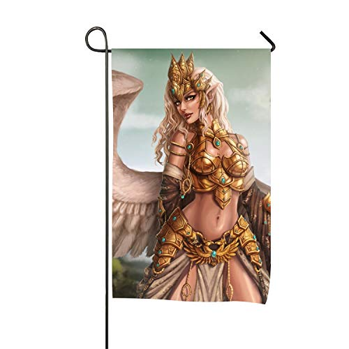 azfvv Welcome Garden Flag Vertical Outdoor and Indoor Decorative Fantasy Angel Warrior Blonde Wings Pointed Ears Armor Gold Crown Double Sided Flag for Spring Summer Farm House]()