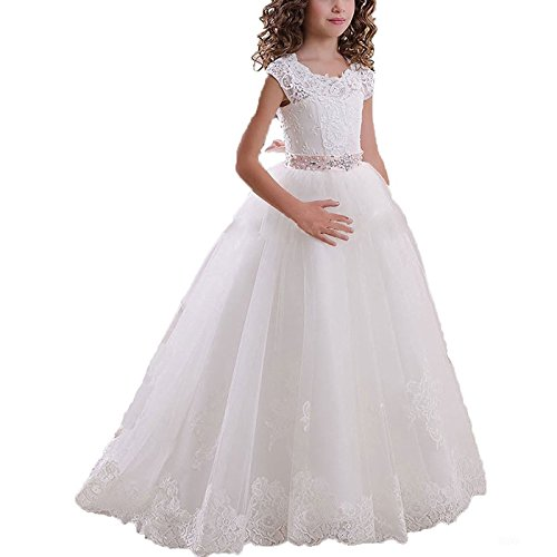 Aprildress Ivory Lace Flower Girls Dresses Vintage White