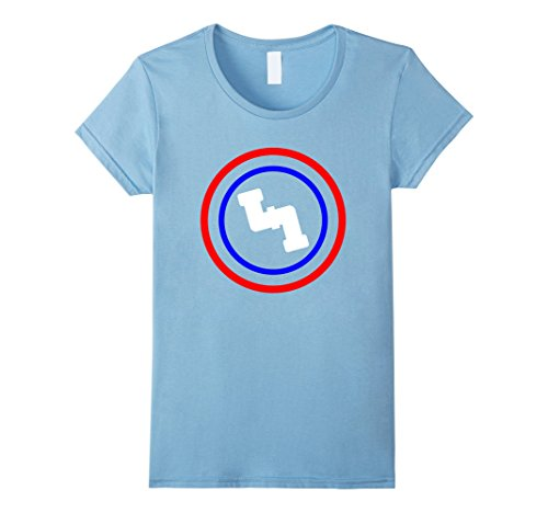 Plumber Costume Ideas - Womens Captain Plumber Super Hero T-Shirt Large Baby Blue