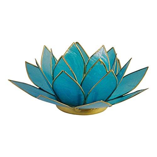The Crabby Nook Lotus Tea Light Candle Holder Capiz Shell Decorating Accent Home Decor (Aqua Marine Teal) ()