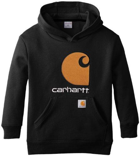 - Carhartt Big Boys' Big C Fleece Hooded Sweatshirt, Caviar Black, 14/16