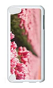 Ipod 5 Case,MOKSHOP Cute Pink Tulips Field Hard Case Protective Shell Cell Phone Cover For Ipod 5 - PC White