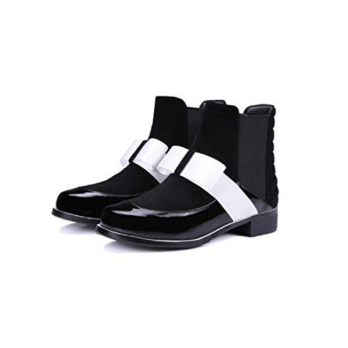Shoes Women's Casual Low With liked Bootie A Leather Boots Boots 34 WHITE Ankle Sleeve Style Head Round College Bowknot wqr5fqzCax