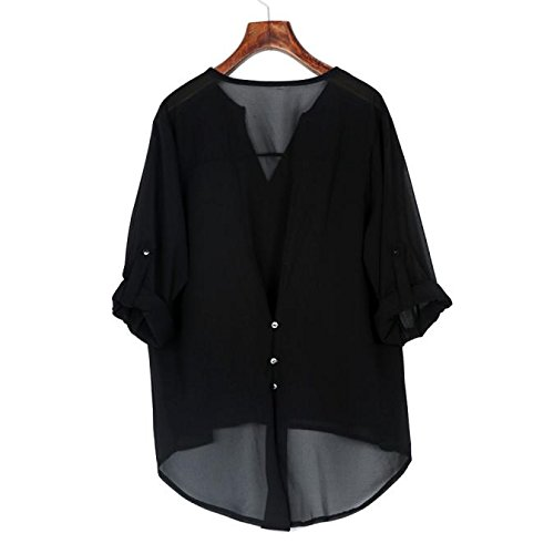 355b1d41cb2 Image Unavailable. Image not available for. Color  CHIDY Womens Loose Long  Sleeve Chiffon Casual Blouse Shirt Tops Fashion Blouse
