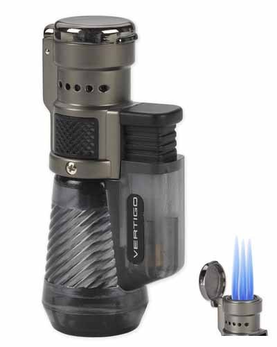 Vertigo by Lotus Cyclone Triple Torch Cigar Lighter Charcoal 2 (Jet Flame Cigar Lighter)
