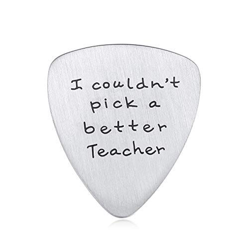 Jureeone Appreciation Gift for Teachers Guitar Pick Jewelry Matte Stainless Steel - I couldn't pick a better Teacher - Graduation Back to School Thank You Gifts for Musician Men Women from Students