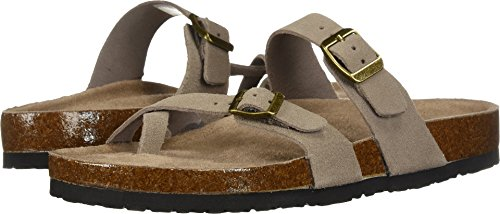 Skechers Women's Granola-Opt Out-Double Buckle Toe Thong Slide Flip-Flop, Taupe, 5 M US by Skechers