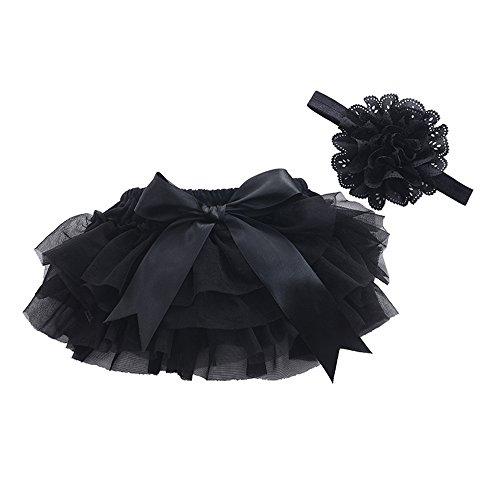muyan Girls Cotton Tulle Ruffle with Bow Baby Bloomer Diaper Cover and Headband Set (Black, L(12Month-24Month)) (Bow Bloomers)