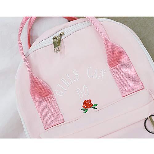 Leuke De Borduurwerk Dames School Tas Populair Capaciteit Grote Universiteit Lichtgewicht Haxibkena Decoratieve Bloemen Roze Rugzak YIqwA18