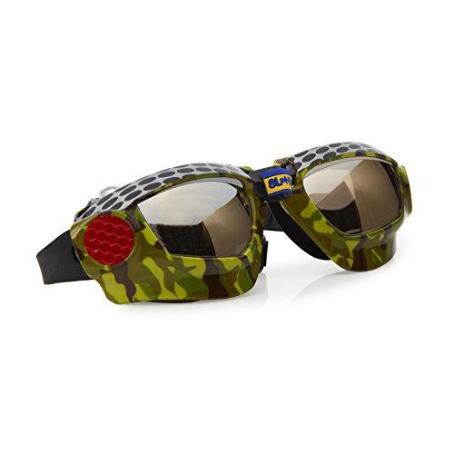 Mudding Themed Swimming Goggles For Kids by Bling2O - Anti Fog, No Leak, Non Slip and UV Protection - Dirt Racer Black Metal Grill Colored Fun Water Accessory Includes Hard (Pond Racer)