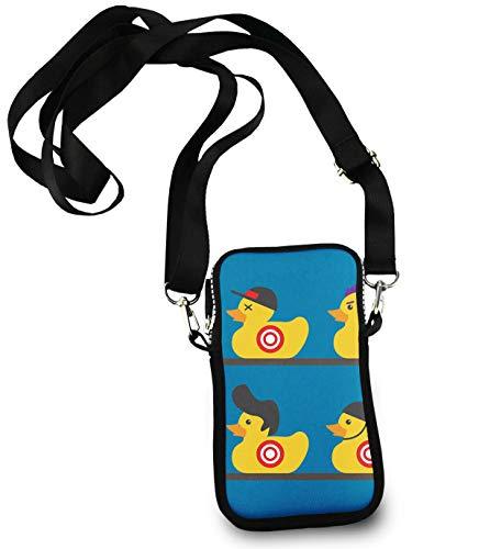 Unisex Small Crossbody Bag Cell Phone Purse Wallet Headphone Bag Rubber Yellow Duck Art -