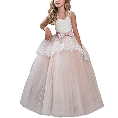 IBTOM CASTLE Big Girl Flower Ball Gown Princess Vintage Lace Puffy Tutu Dress Wedding Bridesmaid Communion Pageant Party Long Maxi Dresses 11-12 Years by IBTOM CASTLE
