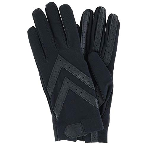 Isotoner Women's Spandex Shortie Gloves with Leather Palm Strips, smartDRI Black, S/M
