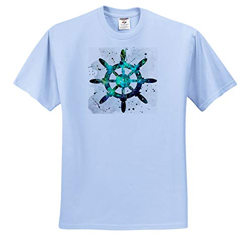 3dRose Taiche - Acrylic Painting - Yacht Steering Wheel - The Captains Wheel - Adult Light-Blue-T-Shirt 4XL (ts_309610_56) ()