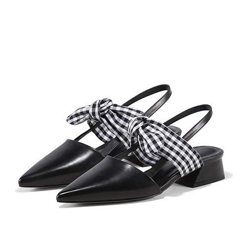Yukun zapatos de tacón alto High-Heeled Señaló Grueso con Un Solo Zapatos Femenino con Un Botón Trasero Femenino A387 Black