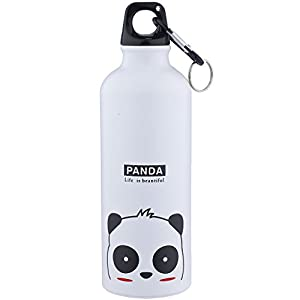 """Lux Accessories White Panda """"Life is Beautiful"""" Sports Gym Beach Water Bottle"""