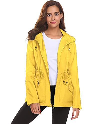 Rain Jacket,Womens Ladies Waterproof Outwear with Hood Mesh Lining Raincoat Short (Waterproof Ladies Jackets)