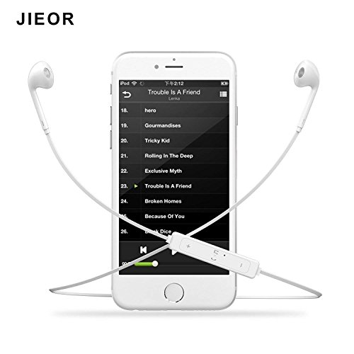 JIEOR Bluetooth Headphones,Wireless Headphones Bluetooth V4.2 Earbuds with Mic Stereo Earphones Noise Cancelling Sweatproof Sports Headset for iPhone X 8 7 Plus Samsung Galaxy S7 S8 S9 and Android by JIEOR (Image #3)