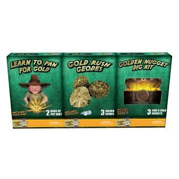 Discover with Dr. Cool 3 Pack Geology Science Kit – Gold Panning + Geodes + Dig for Golden Nuggets
