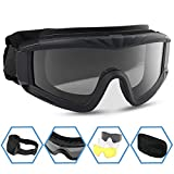 XAegis Airsoft Goggles, Tactical Safety Goggles Anti Fog Military Eyewear with 3 Interchangable