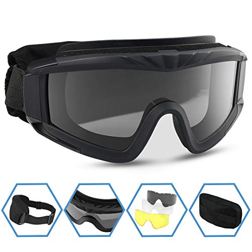 XAegis Airsoft Goggles, Tactical Safety Goggles Anti Fog Military Eyewear with 3 Interchangable Lens for Paintball Riding Shooting Hunting Cycling - ()