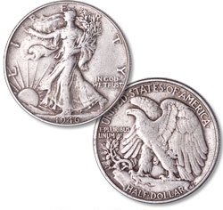 Average Circulated Walking Liberty Half ()