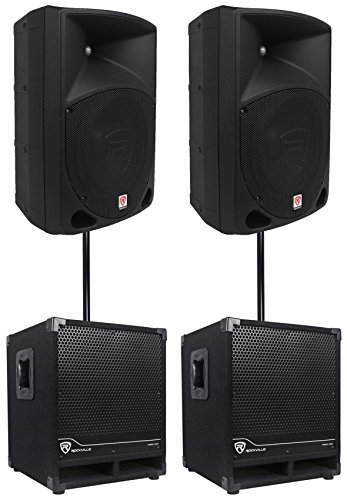2) Rockville RPG10 10'' Powered 600W DJ PA Speakers+2) Subwoofers+Mounting Poles by Rockville