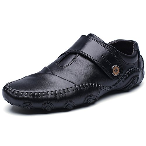 Ceyue Men Driving Shoes Top Brand Male Moccasins Shoes Leather Casual- black-9.5
