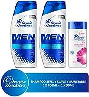 Head & Shoulders Head & Shoulders 3 En 1 Para Hombres Shampoo, 2 Piezas 700 Ml C/u + 90 Ml Suave Y Manejable 2 En 1, color,