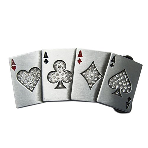 New Hip Hop Clear Rhinestones 4 Ace Poker Card Bling Belt Buckle