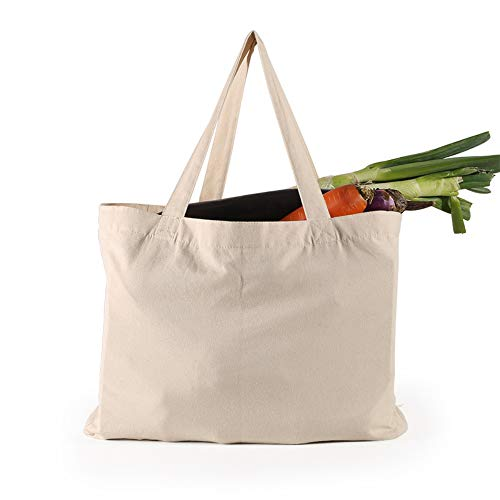 NAECOUS Canvas Grocery Shopping Bags with Bottle Sleeves, 10 oz Heavy Duty & Premium Reusable Cloth Totes, Washable&Durable&Eco-Friendly Wine Totes with Handles (2 Bags)