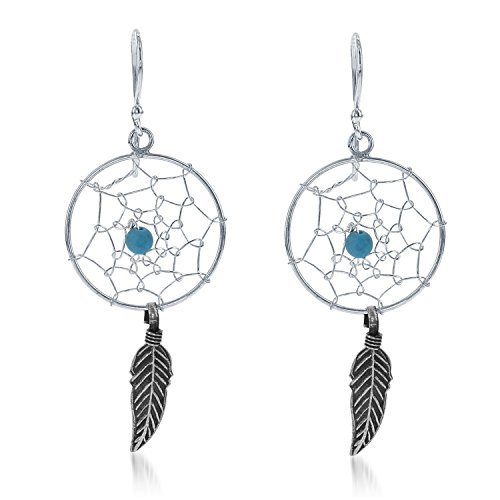 Sterling Silver & Turquoise Bead Dreamcatcher Circle Dangle Earrings by Beaux Bijoux