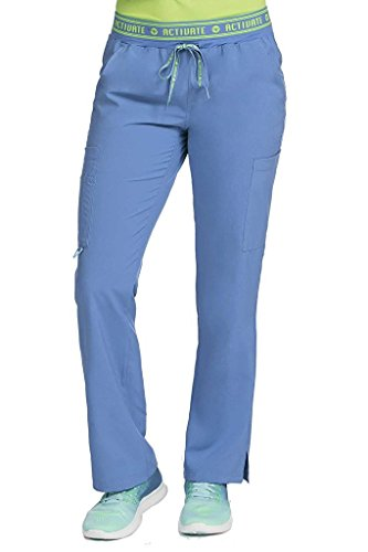 Med Couture Activate Scrub Pants Women, Flow Yoga 2 Cargo Pocket Pant, Ceil, Small Petite ()