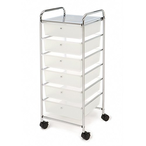 Seville Classics Large 6-Drawer Storage Bin Organizer Cart, White