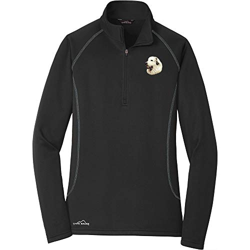 Cherrybrook Breed Embroidered Ladies Eddie Bauer Base Layer Fleece - Small - Black - Great Pyrenees