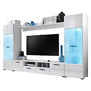 modern 3 entertainment center wall unit with 15 colors led lights 65 inch tv stand. Black Bedroom Furniture Sets. Home Design Ideas