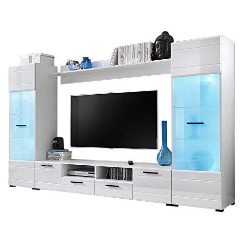 Gloss Wall Unit - Modern 3 Entertainment Center Wall Unit with 15 Colors LED Lights 65 Inch TV Stand, High Gloss White