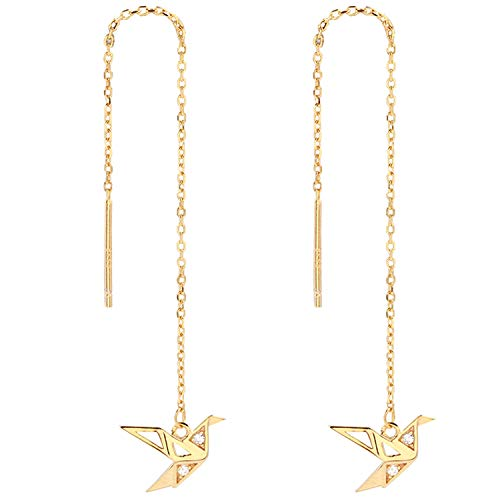 OwMell 925 Sterling Silver Paper Crane Birds Threader Earrings, Long Chain CZ Dangle Drop Earring, 18k Gold Plated