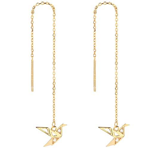 (OwMell 925 Sterling Silver Paper Crane Birds Threader Earrings, Long Chain CZ Dangle Drop Earring, 18k Gold Plated)