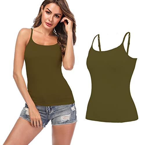 KIWI RATA Women's Cami with Built-in Bra Adjustable Strap, Summer Sleeveless Shirt Casual Tank Top Camisole Padded Tanks for Yoga Olive GreenXXL