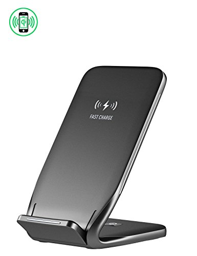 Wireless Charger Stand, 10W Fast Charging Holder for Apple iPhone 8/8plus, iPhone X, Samsung Galaxy S9, etc. (W3, Dark) ()