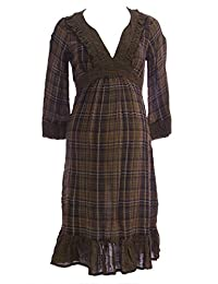 OLIAN Maternity Women's Plaid Scoop Neck 3/4 Sleeve Tunic X-Small Brown