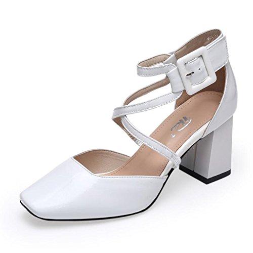 Talon Cuir Blanc 39 Femme Sandales Boucle couleur Blanc En D'été Jingsen Ceinture Femmes Heels Chaussures Baotou Taille HzW8Wwq1p