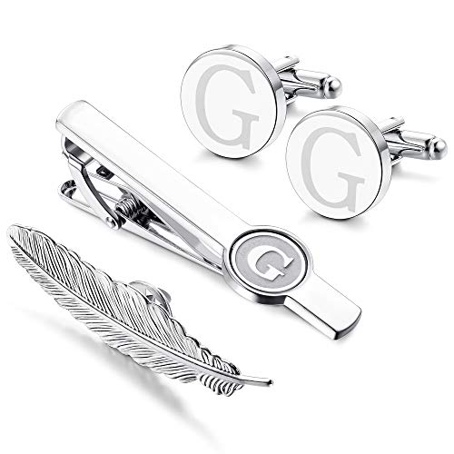 LOYALLOOK Initial Cufflinks and Tie Clip for Men Women Engraved Shirt Cufflink Alphabet A-Z Tie Bar Set for Business Wedding Gift Box G