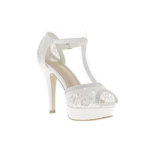 """Cordón de 2,5 cm de la plataforma """"11,5 cm aguja zapatos mujer tacón rhinestone blanco"""""""