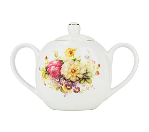 - 24 Oz Sugar Pot, Vintage Bone China Sugar Bowl with Lid, Floral Design Sugar Server with Handles