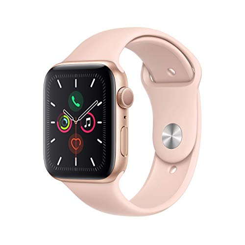 Apple Watch Series 5 (GPS, 44MM) - Gold Aluminum Case with Pink Sand Sport Band (Renewed)