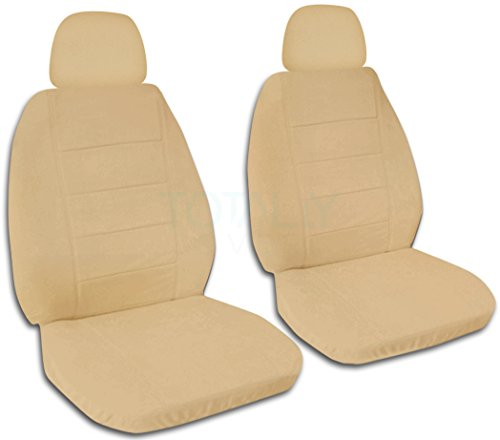 (Solid Color Car Seat Covers w 2 Separate Headrest Covers: Tan - Semi-Custom Fit - Front - Will Make Fit Any Car/Truck/Van/SUV (22 Colors))